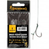 PRZYPON Z HACZYKIEM 4/0,14MM 10CM BRAID METHOD PUSH STOP BROWNING